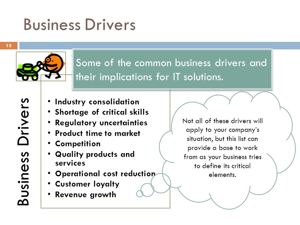 Business Drivers Business Drivers. Industry consolidation. Shortage of critical skills. Regulatory uncertainties.