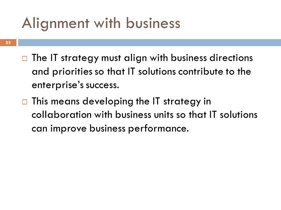 Alignment with business
