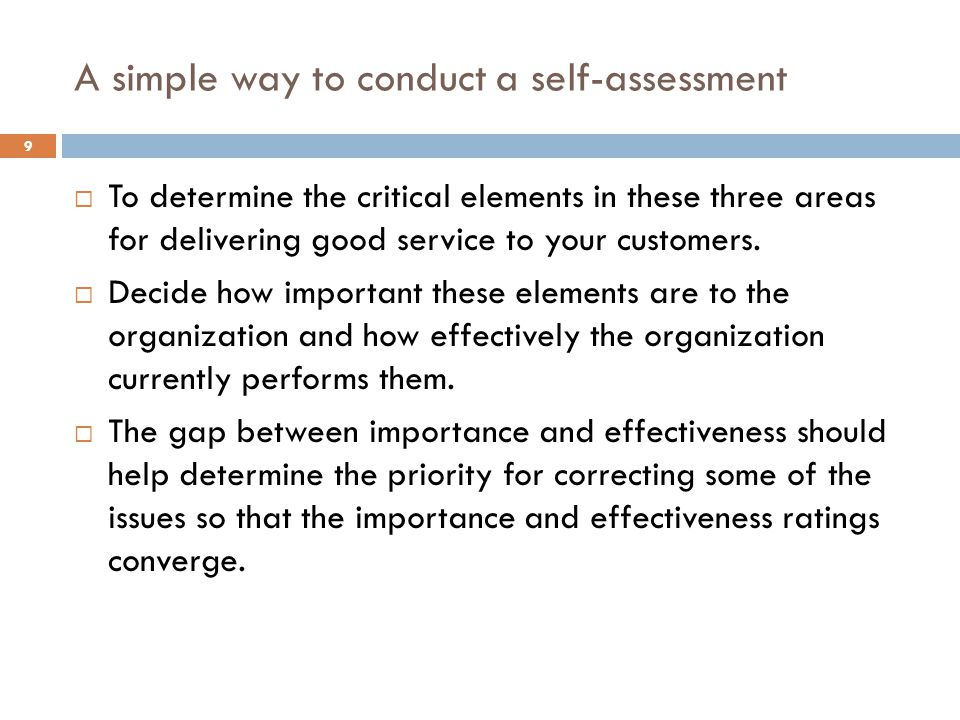 A simple way to conduct a self-assessment