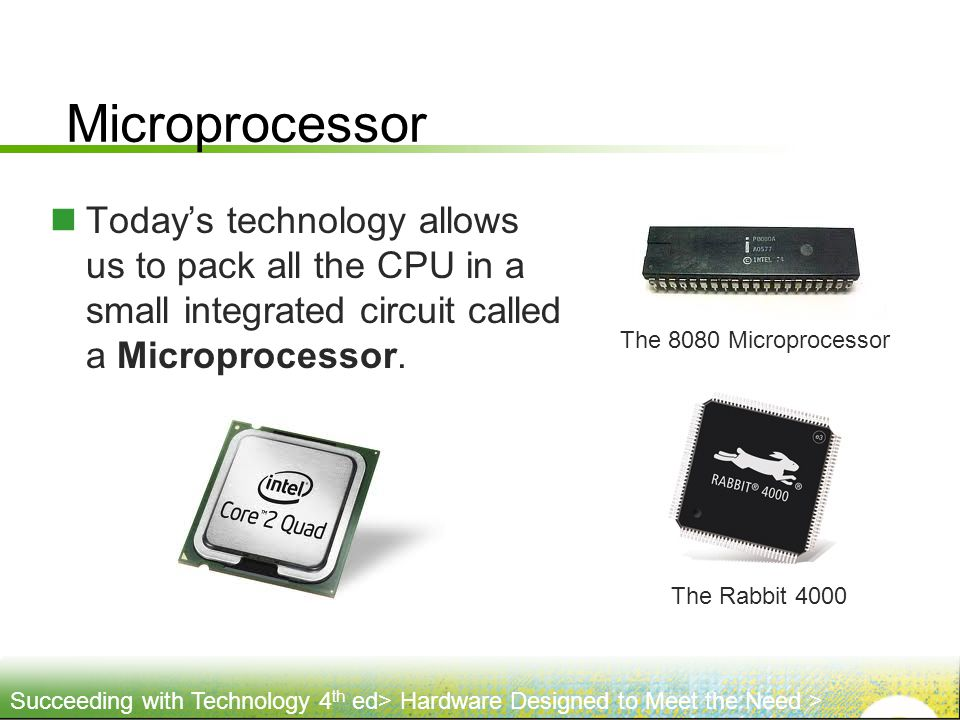 Microprocessor The 8080 Microprocessor. Today's technology allows us to pack all the CPU in a small integrated circuit called a Microprocessor.