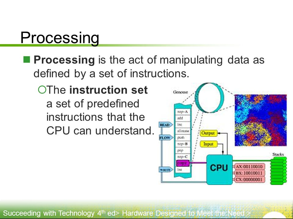 Processing Processing is the act of manipulating data as defined by a set of instructions.