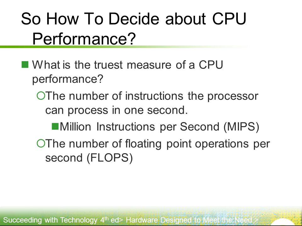 So How To Decide about CPU Performance