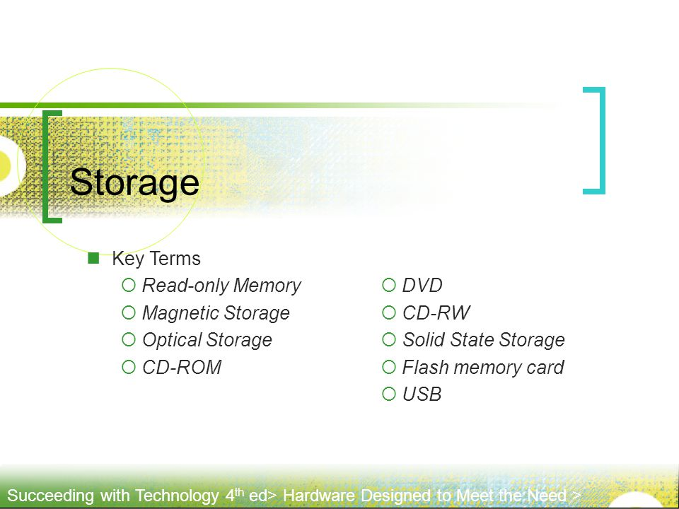 Storage Key Terms Read-only Memory Magnetic Storage Optical Storage