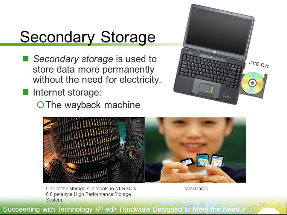 Secondary Storage DVD-RW. Secondary storage is used to store data more permanently without the need for electricity.