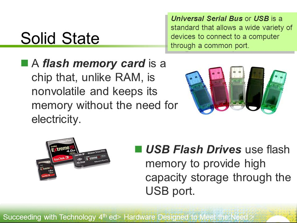 Solid State Universal Serial Bus or USB is a standard that allows a wide variety of devices to connect to a computer through a common port.