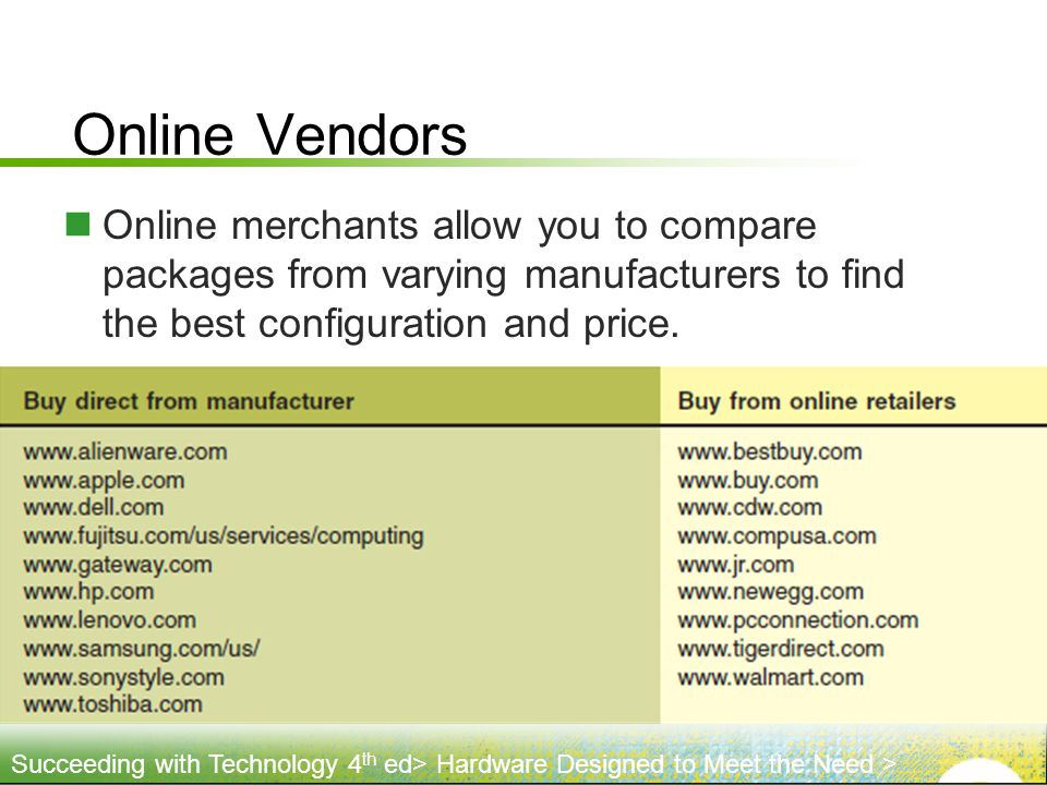 Online Vendors Online merchants allow you to compare packages from varying manufacturers to find the best configuration and price.