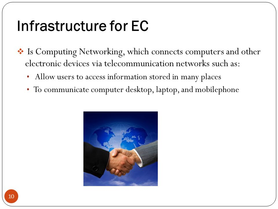 Infrastructure for EC Is Computing Networking, which connects computers and other electronic devices via telecommunication networks such as: