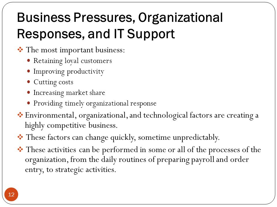 Business Pressures, Organizational Responses, and IT Support