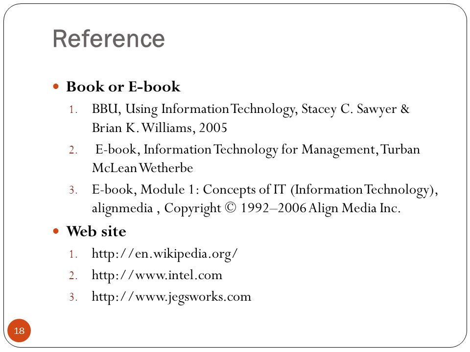 Reference Book or E-book Web site