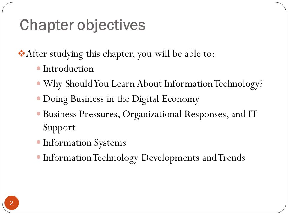 Chapter objectives After studying this chapter, you will be able to: