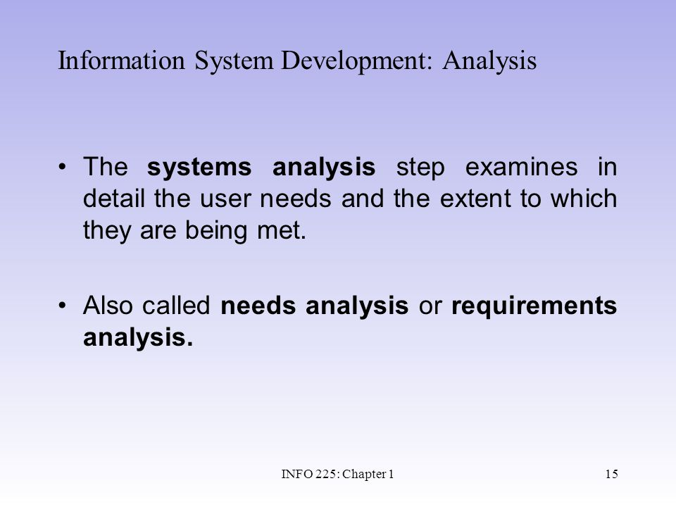Information System Development: Analysis