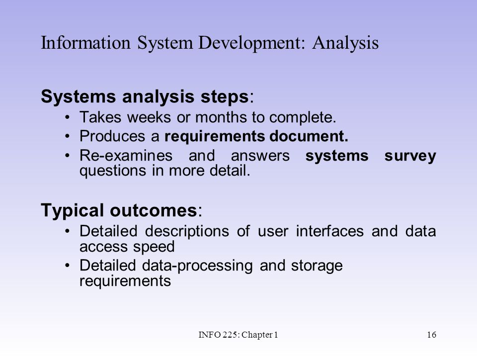 Information System Development: Analysis
