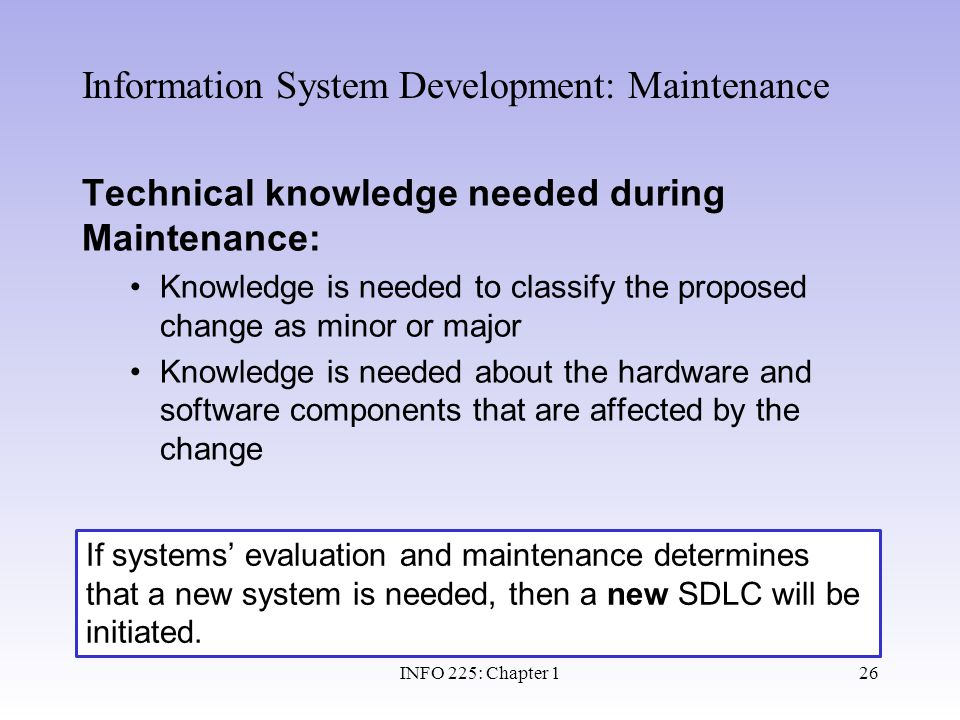 Information System Development: Maintenance