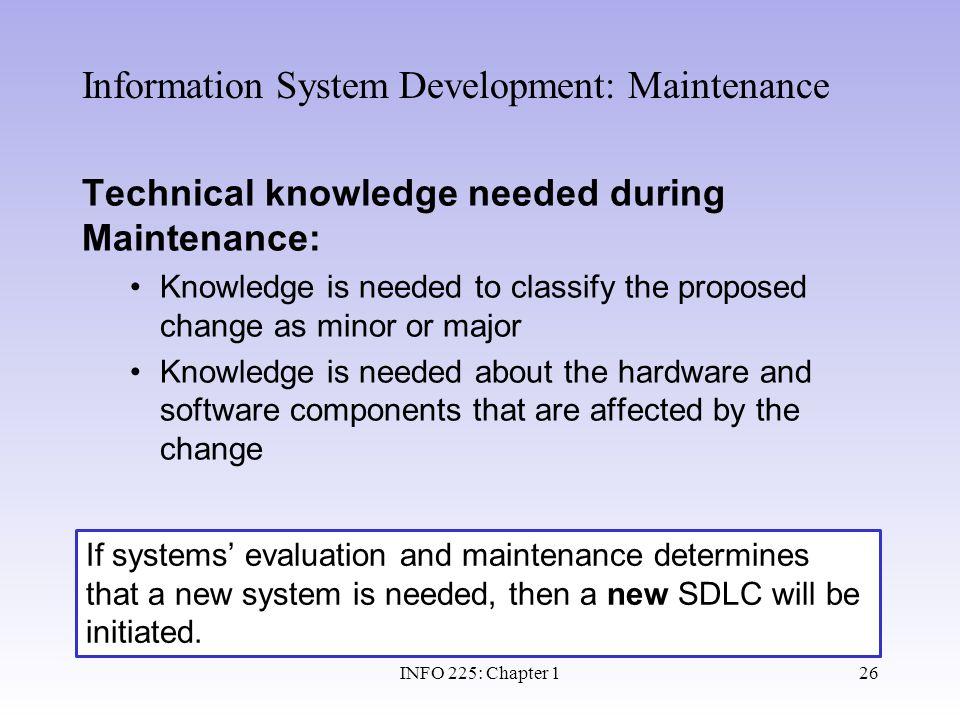 Information System Development: Maintenance