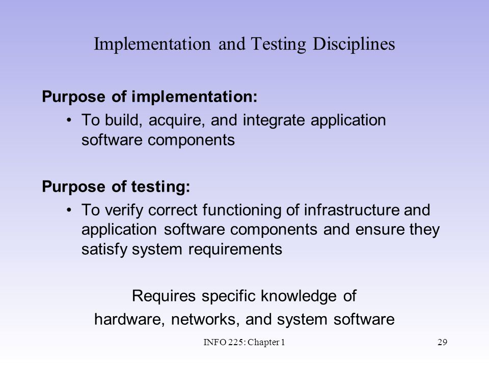 Implementation and Testing Disciplines