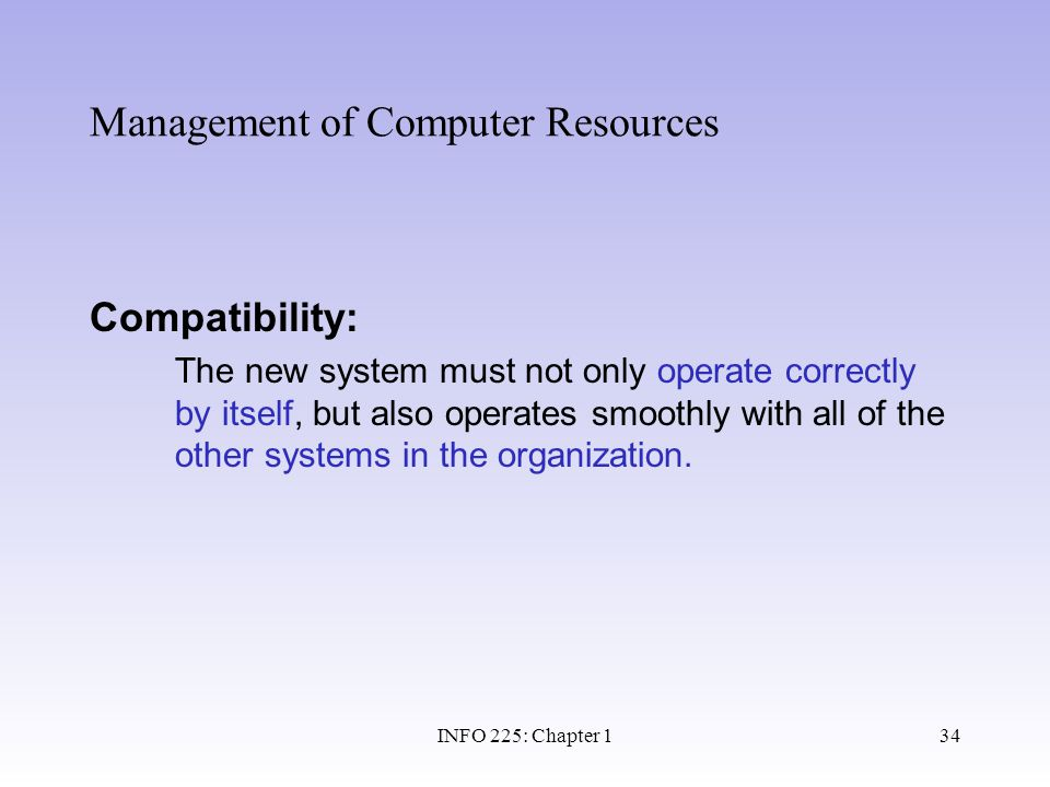 Management of Computer Resources