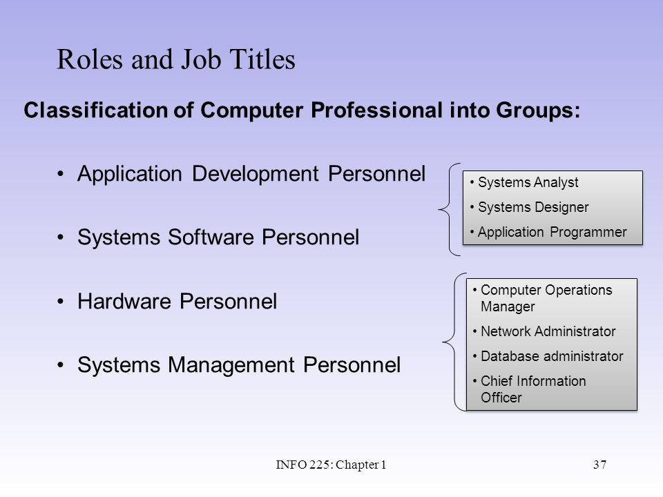 Roles and Job Titles Classification of Computer Professional into Groups: Application Development Personnel.