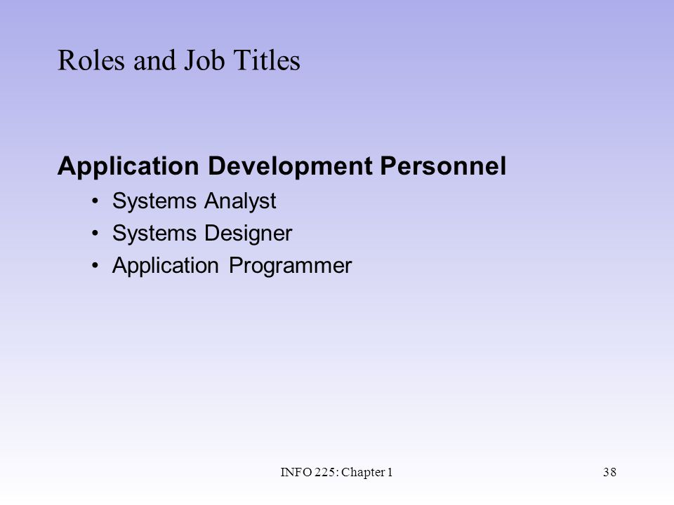 Roles and Job Titles Application Development Personnel Systems Analyst