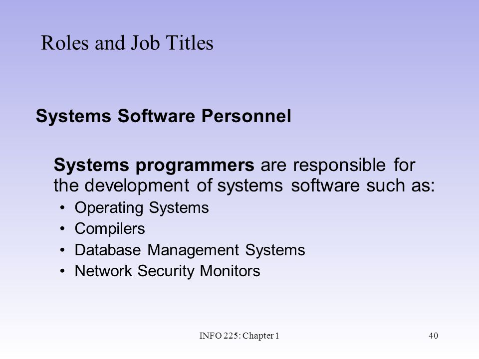 Roles and Job Titles Systems Software Personnel