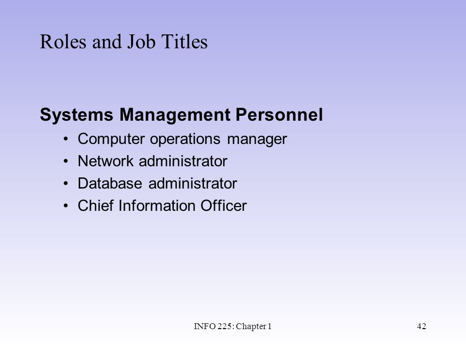 Roles and Job Titles Systems Management Personnel
