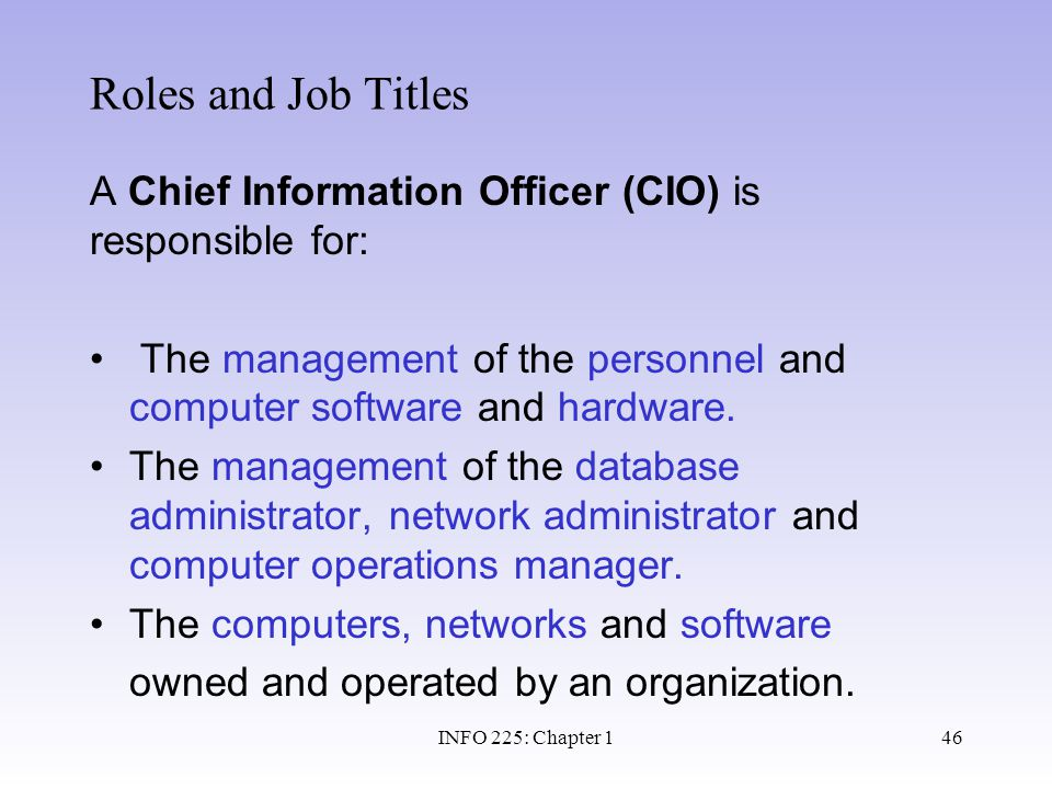 Roles and Job Titles A Chief Information Officer (CIO) is responsible for: The management of the personnel and computer software and hardware.