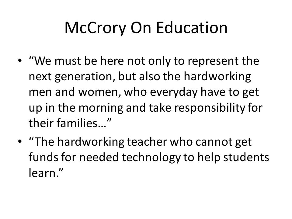 McCrory On Education