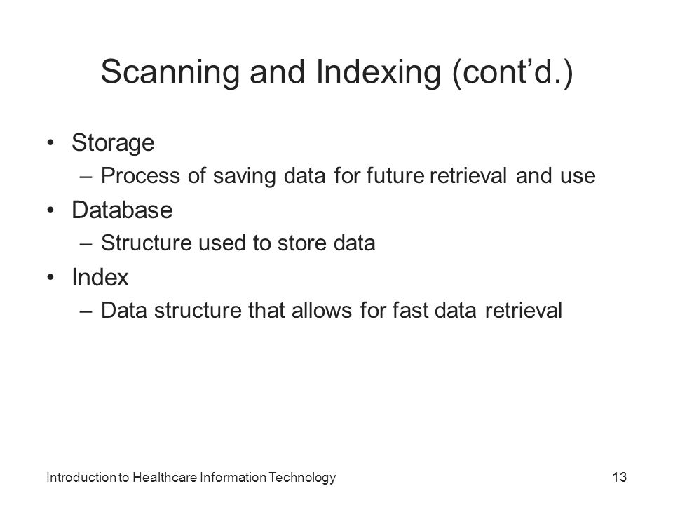 Scanning and Indexing (cont'd.)