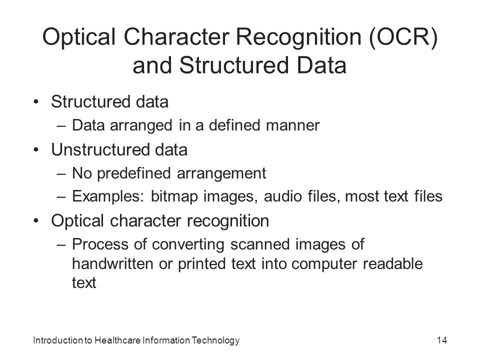 Optical Character Recognition (OCR) and Structured Data