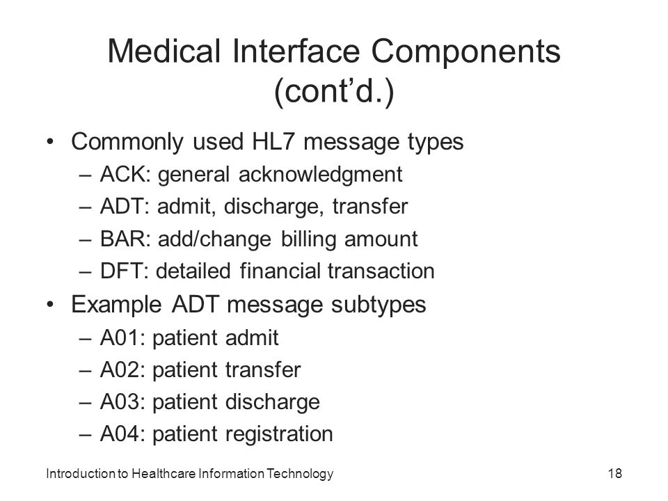 Medical Interface Components (cont'd.)