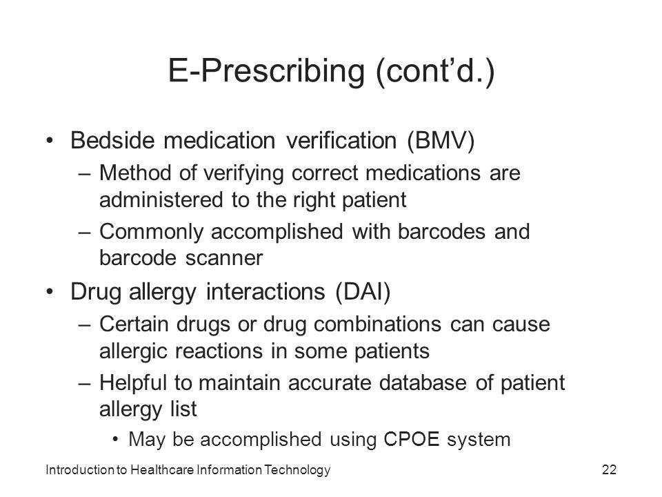 E-Prescribing (cont'd.)