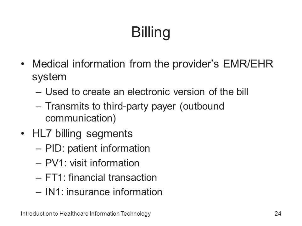 Billing Medical information from the provider's EMR/EHR system