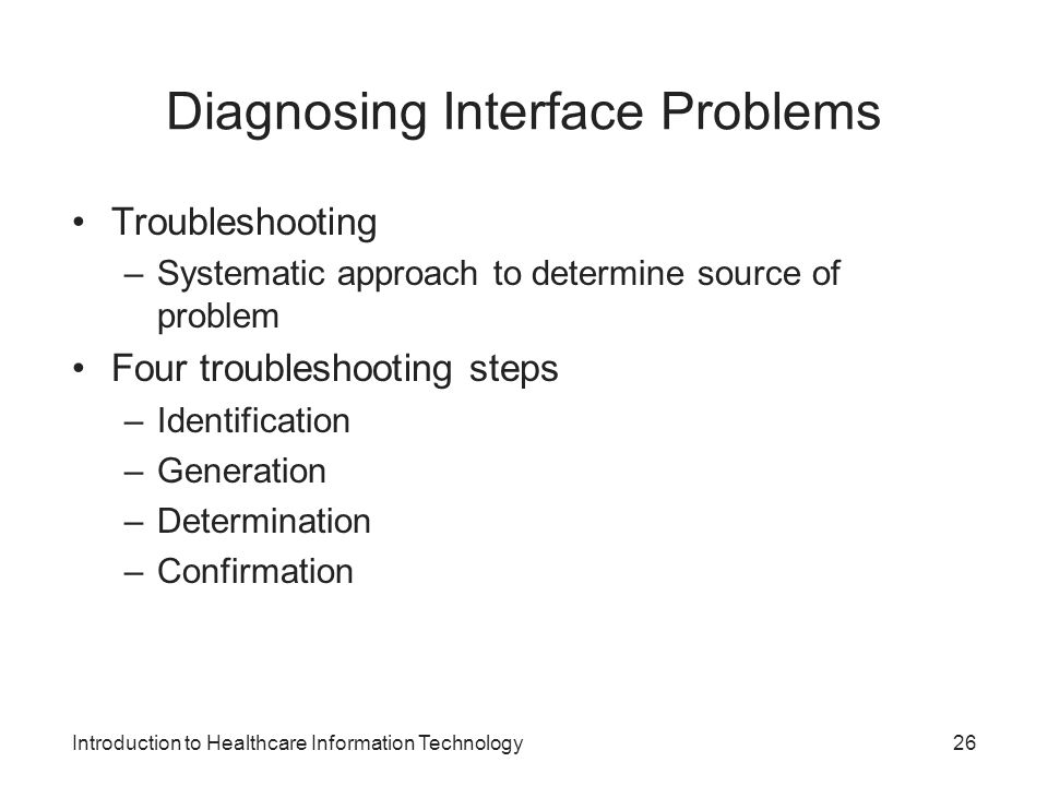 Diagnosing Interface Problems