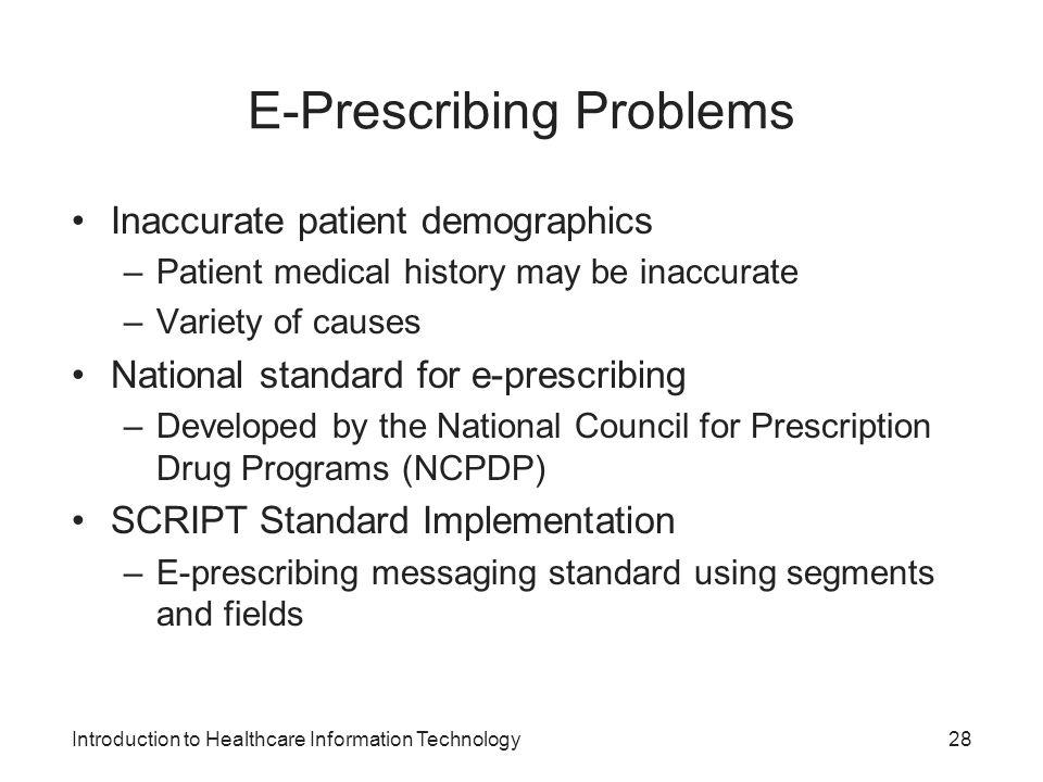 E-Prescribing Problems