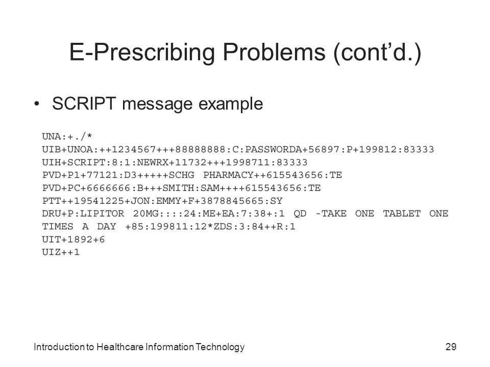 E-Prescribing Problems (cont'd.)