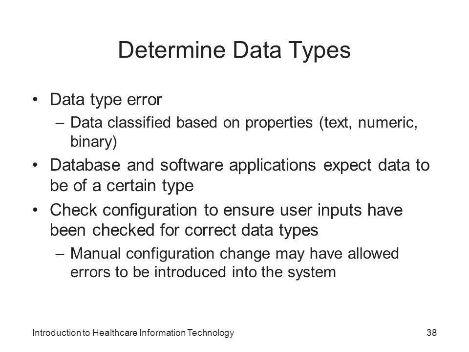 Determine Data Types Data type error