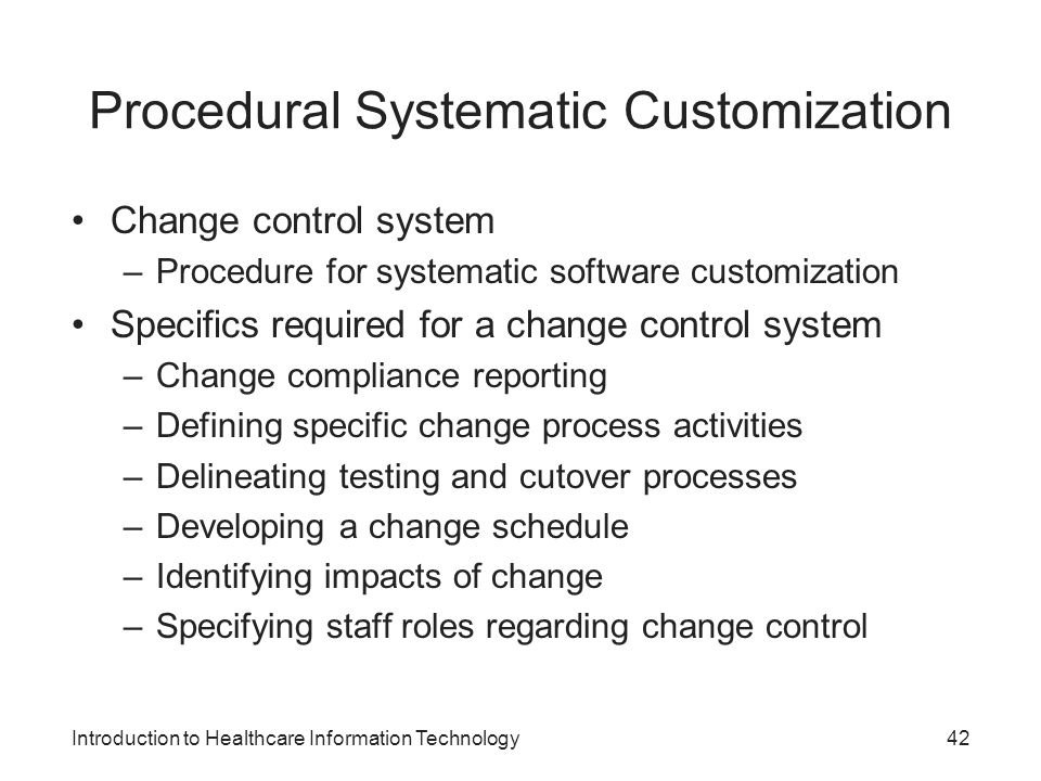 Procedural Systematic Customization