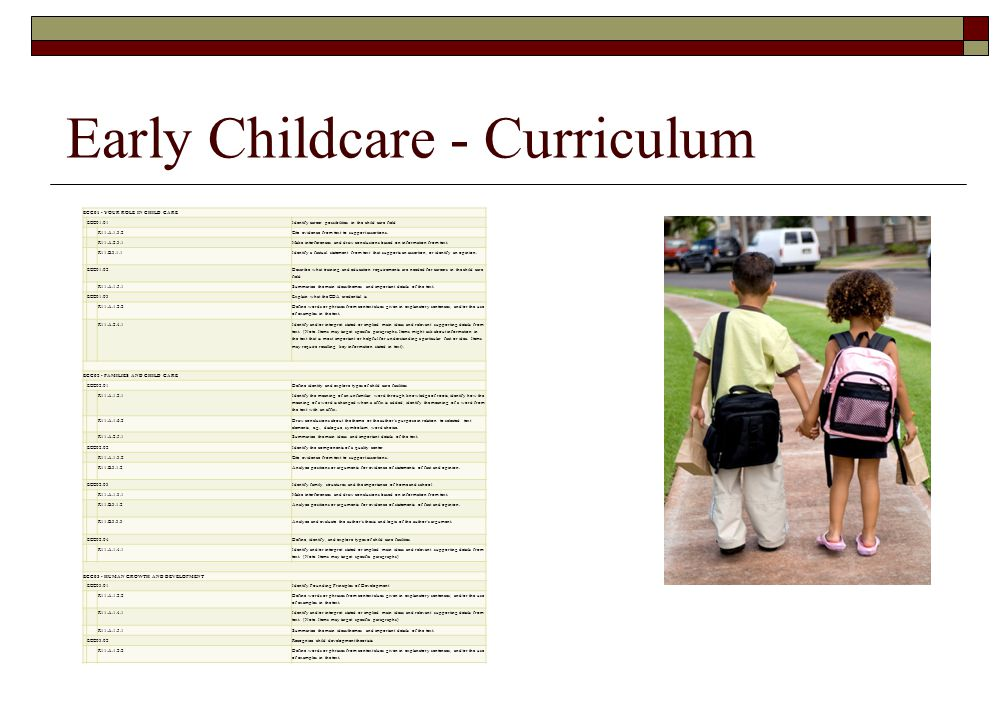 Early Childcare - Curriculum