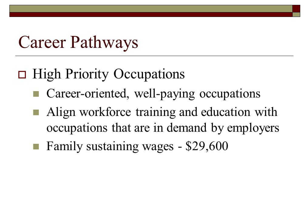 Career Pathways High Priority Occupations