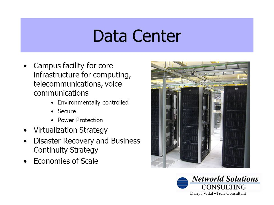 Data Center Campus facility for core infrastructure for computing, telecommunications, voice communications.