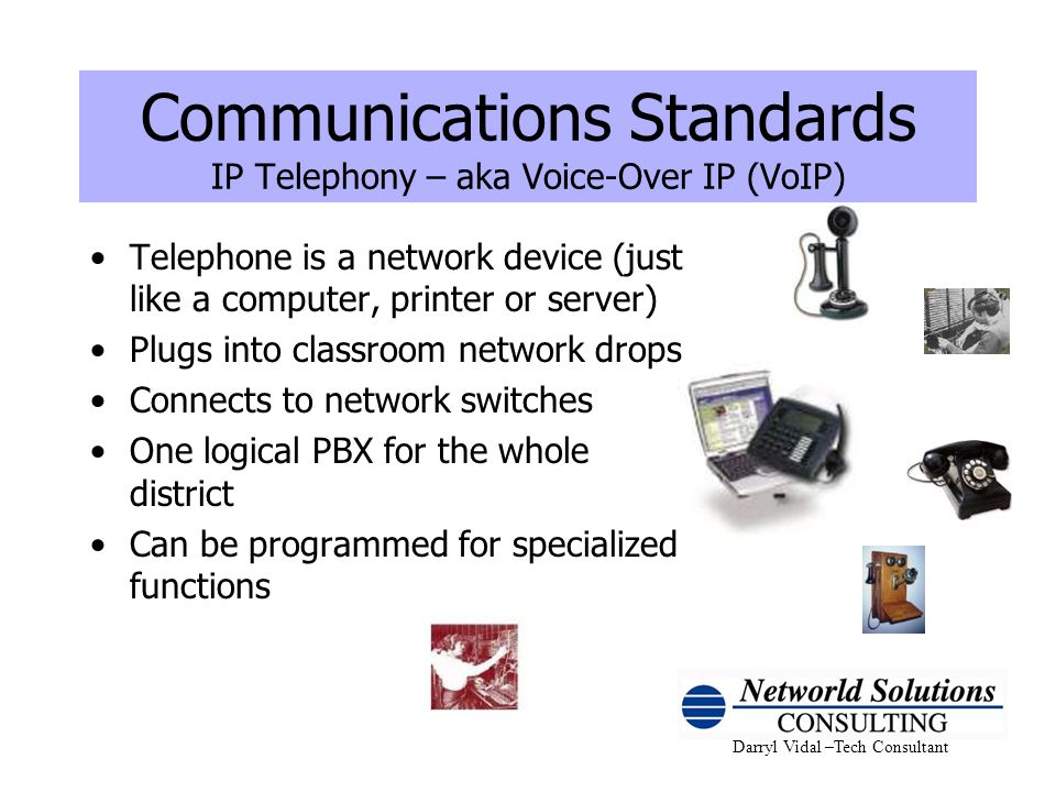 Communications Standards IP Telephony – aka Voice-Over IP (VoIP)