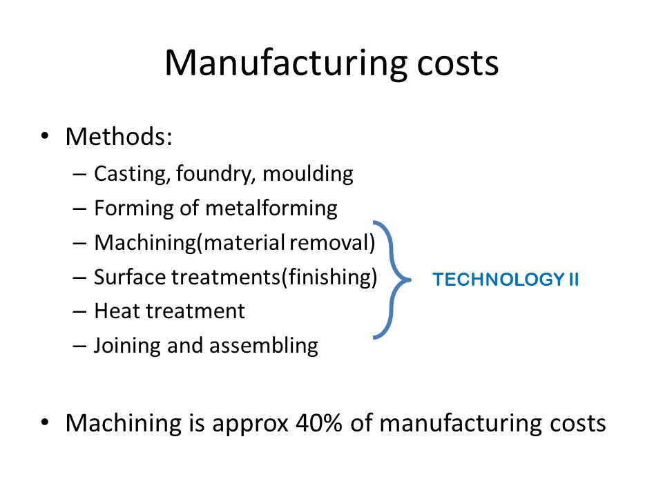 Manufacturing costs Methods: