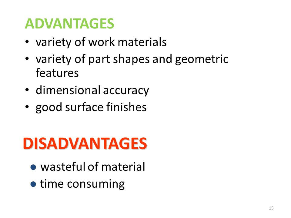 DISADVANTAGES ADVANTAGES variety of work materials