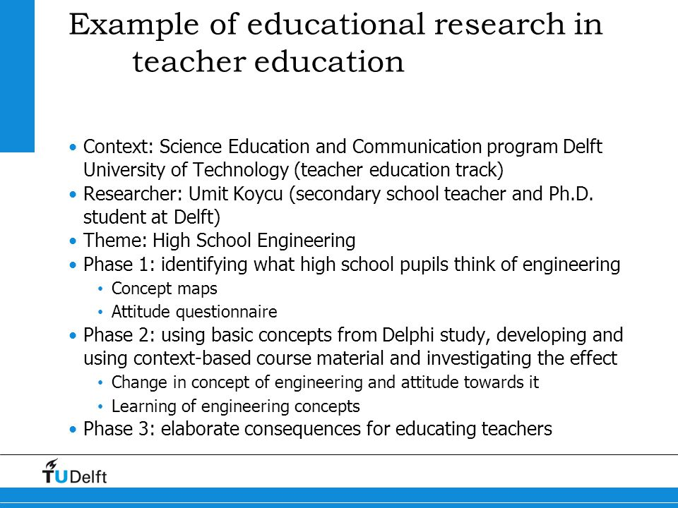 Example of educational research in teacher education