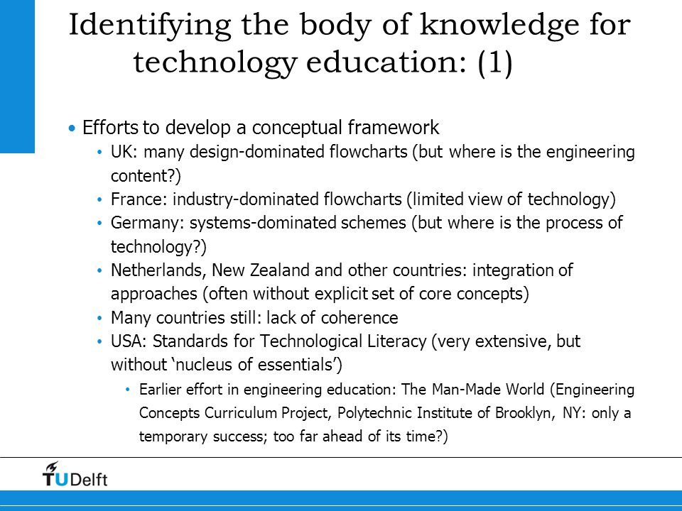 Identifying the body of knowledge for technology education: (1)