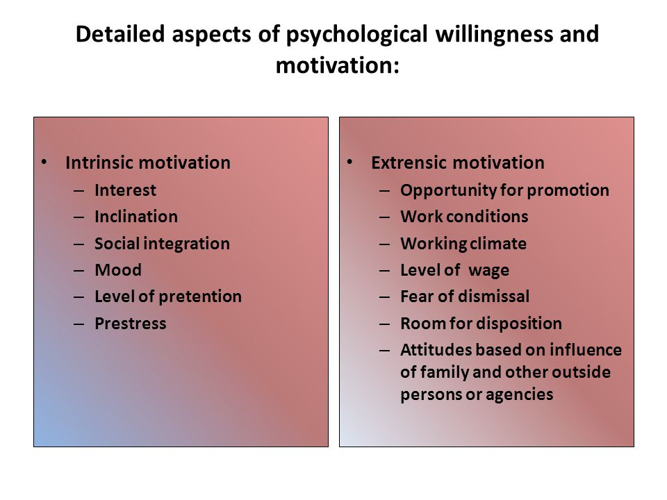 Detailed aspects of psychological willingness and motivation: