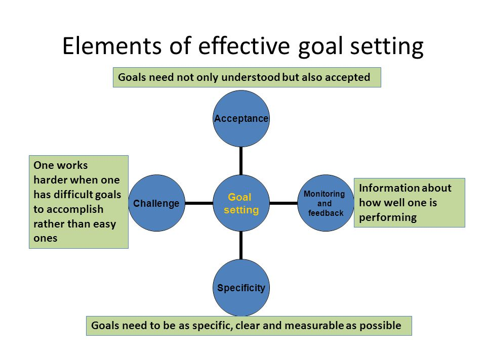 Elements of effective goal setting