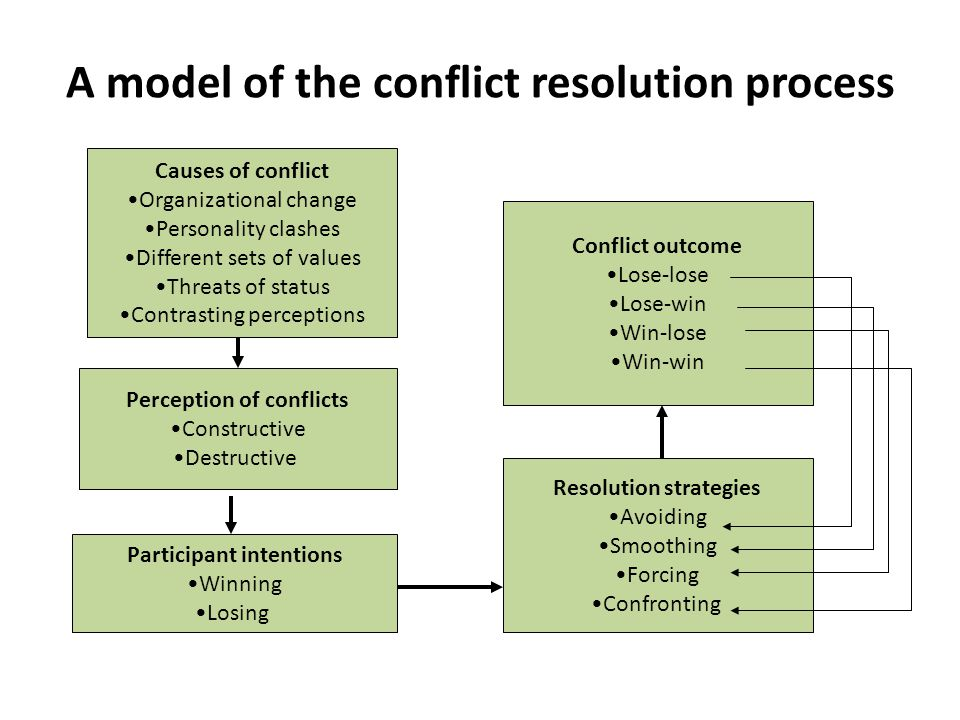 A model of the conflict resolution process