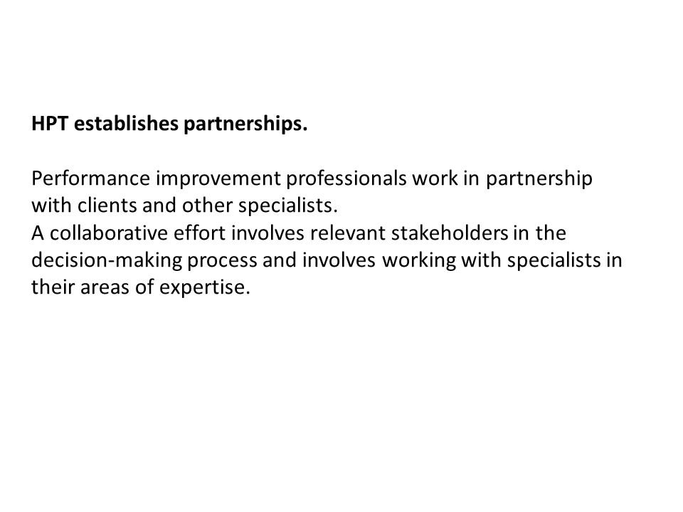 HPT establishes partnerships.