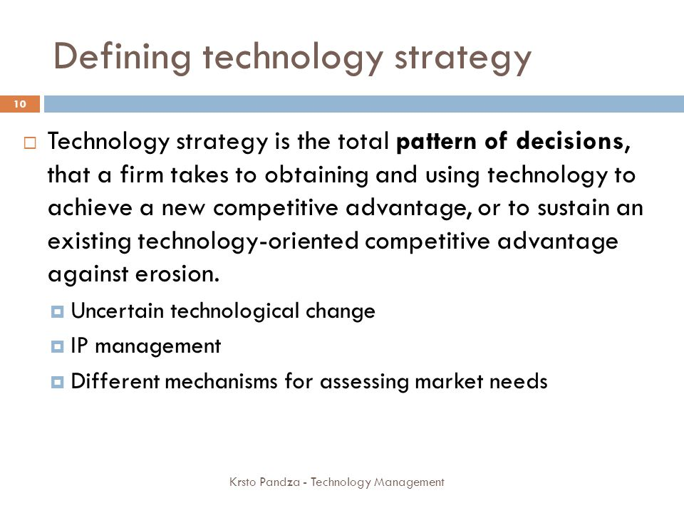 Defining technology strategy