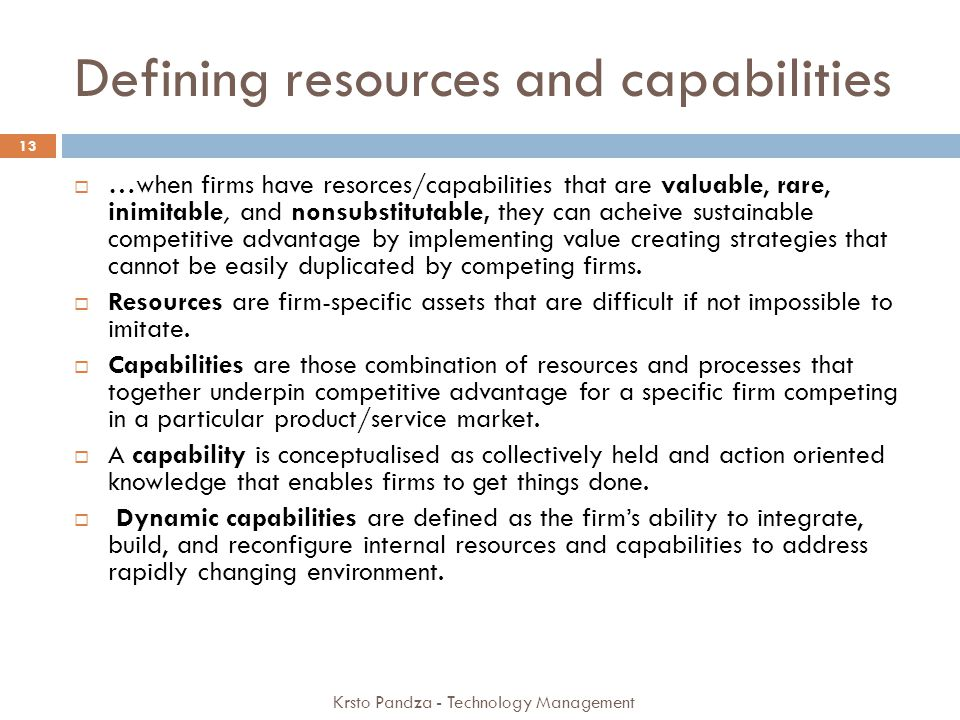 Defining resources and capabilities